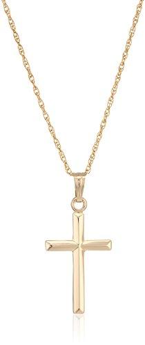 "Ladies' 14k Gold Filled Polished Embossed Cross Pendant Necklace, 18"""