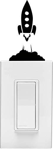 Calcomanía de vinilo para pared de habitación infantil con diseño de barco cohete en interruptor de luz (7,6 x 12,7 cm)