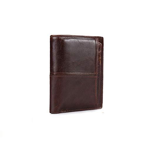 Geldbörse for Männer echten Kuh-Leder RFID Retro Mode Clutch-Bag-Klipp Herrenbrieftasche (Color : Brown, Size : S)