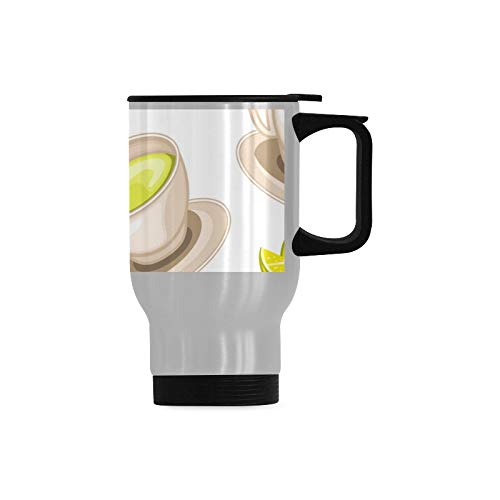 Green Tea Leaf Healthy Best Travel Mug Coffee Traveling Mug Stainless Steel Durable With Handle 14-ounce Cup For Cold & Hot Drinks