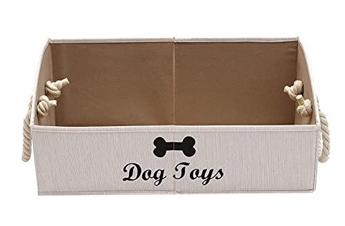 Morezi Caja de Juguetes de Perro, Trapezoid, Mango de Cuerda de algodón. Se Utiliza para organizar Juguetes para Perros, Ropa para Perros y Otras Suministros para Mascotas-Perro-Blanco