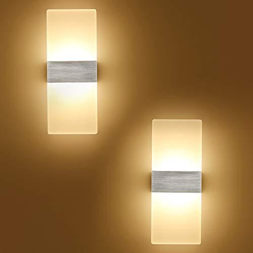 Yafido 2er Wandlampe LED Wandleuchte Innen 12W Wandbeleuchtung Up Down AC 230V 750LM Warmweiß Silber gebürstet Matte für Wohnzimmer Bad Treppen Flur 29CM