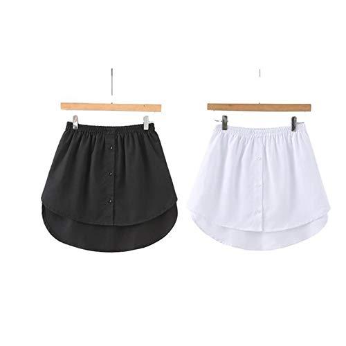 Adjustable Layering Fake Top Lower Sweep, Skirt Half - Length Splitting A Version Mini Skirt Shirt Extenders M (White + Black)
