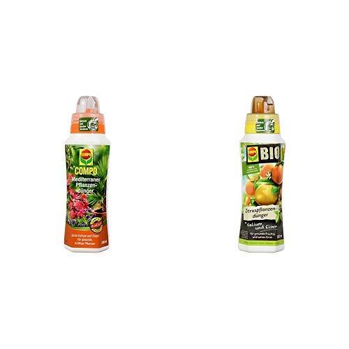 COMPO Mediterraner Pflanzendünger für mediterrane Pflanzen, Spezial-Flüssigdünger mit extra Kalium und Eisen, 500 ml & BIO Zitruspflanzendünger für alle Zitruspflanzen-Arten, 500 ml