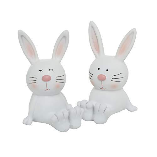 CasaJame Hogar Cocina Decoraciones Objetos Adornos Celebraciones de Pascua Esculturas Estatua Juego de 2 Conejos Resina Blanca Altura 12cm