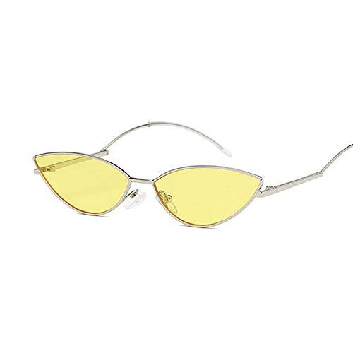 Gafas de sol Mujeres Funky Pequeño Marco Aleación Gafas De Sol Reflectante Espejo UV400 Gafas Vintage Amarillo Gato Ojo Gafas De Sol Mujeres