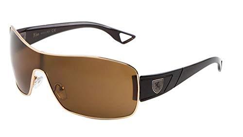 Khan Wrap Around One Piece Lens Sunglasses (Gold & Black Frame, Brown)
