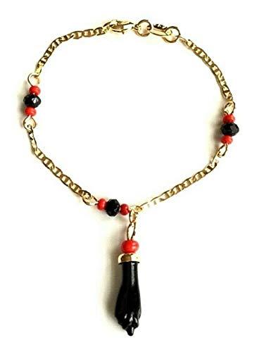 """COLIBROX Baby Azabache Bracelet 14K Gold Filled 5.5""""- Pulsera Mano..."""