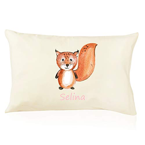 DorDor & GorGor Personalized Toddler Pillow with Watercolor Pillowcase, Ultra Soft Organic Cotton, Giftable Box, 13 X 18 inches, Squirrel