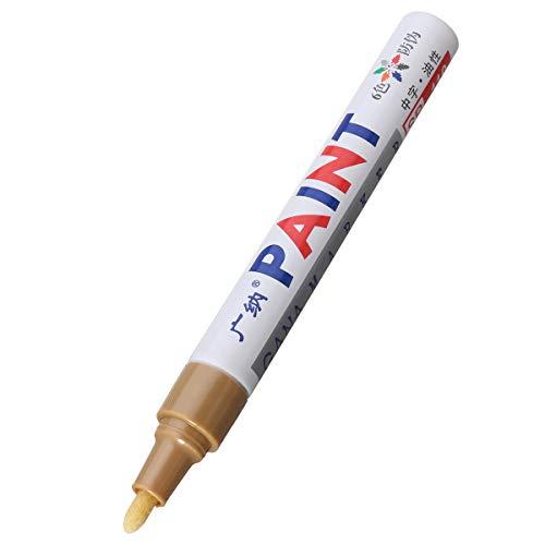 NICOLIE 12Pcs Color Neumático Pintura Permanente Pluma Neumático Metal Marcador De Tinta para Exteriores Marcador De Moda - Oro