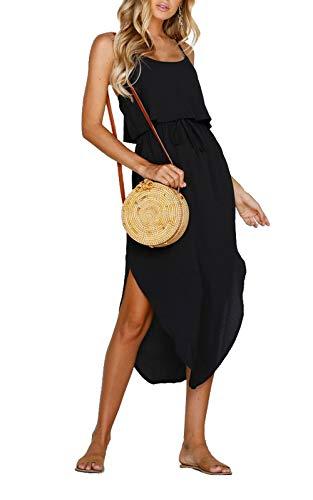 Alaster Women's Summer Casual Dress Spaghetti Strap Black Chiffon Elastic Waist Swing Beach Midi Dress