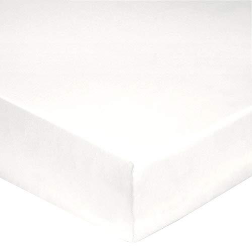 Blanc des Vosges Uni Percale Drap Housse Coton Blanc 160 x 200 cm bonnet 30 cm