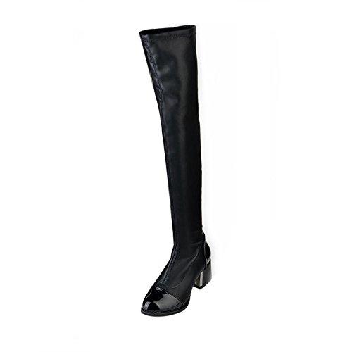 MRULIC Damen Schnürstiefelette mit Plateau Absatz Stiefeletten Zum Schnüren mit Flach Stiefeletten Boots mit Blockabsatz Profilsohle Flandell(Schwarz,35 EU)