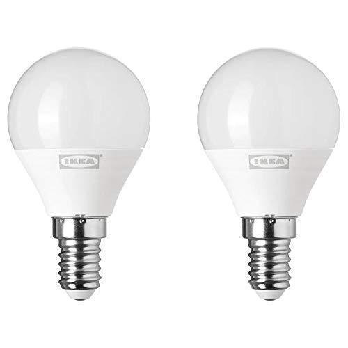 IKEA RYET LED-Leuchtmittel, E14, 250 Lumen, Globe, opalweiß, 2 Stück