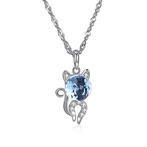 EdorReco Damen Halskette Katze Statement kristall biioltgs Silber 925 anhänger