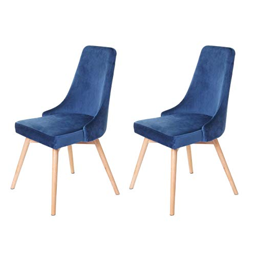 2X Chaise de Salle à Manger HWC-B44, Fauteuil, Style rétro années 50, en Velours - en Bleu pétrole