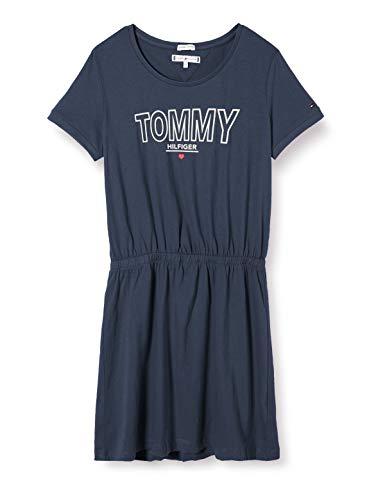 Tommy Hilfiger Mädchen Jersey Tee Dress S/s Kleid, Blau (Twilight Navy C87), One Size (Herstellergröße: 86)