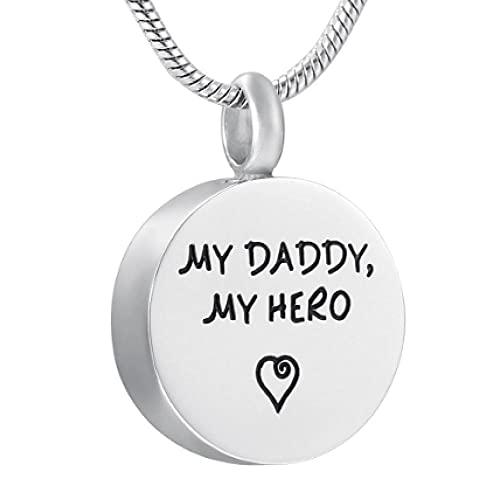 MITIAN Collar con colgante de urna conmemorativa de acero inoxidable con grabado personalizado My Daddy, My Hero para recuerdo