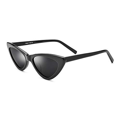 SWNN Sunglasses Marco Pequeño Gafas De Sol Polarizadas Gafas De Triángulo De La Moda Mujer Retro Junta Cat Eye Sunglasses Protección UV400 (Color : Black)