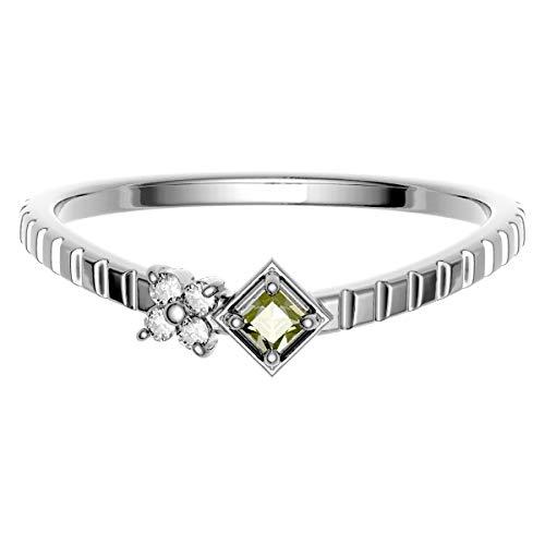 [ココカル]cococaru K18 ホワイトゴールド ダイヤモンド リング 0.05ct スクエアカット 指輪 18号 天然 ダイヤモンド 日本製