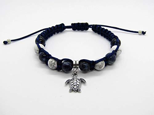 Sodalith und Howlith Edelstein Macramee Armband mit Schildkröte