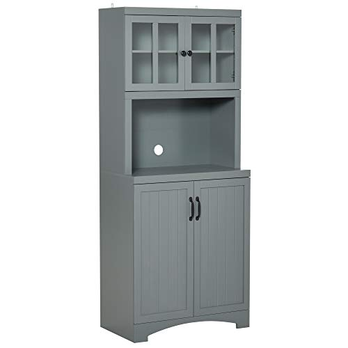 HOMCOM Accent Kitchen Buffet and Hutch Wooden Storage Cupboard with Glass Framed Door, and Microwave Space, Grey