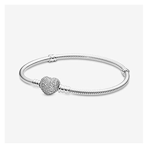 LYNLYN Pulseras Momentos de Plata Crystal Shelleling Shinning Bright Love Heart Brok Charm Bracelet-como Imagen_19cm (Color