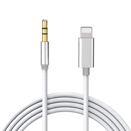 Cable Jack para iPhone 11 [ 1M ] Cable Auxiliar Coche para iPhone 8 Cable Jack 3.5mm para Auriculares/Coche Estéreo/Auricular/Hi-Fi Stereo/Altavoz Compatible con iPhone 7/8/X/XR/XS/11 - Plata