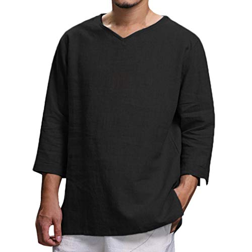 Herren Langarm Bluse Sommer New Pure Baumwolle und Hanf Top Komfortable Fashion Top (3XL,Schwarz)