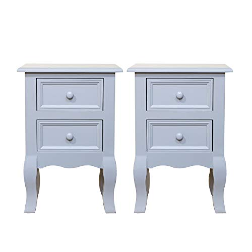 Set of 2 Grey Bedside Tables with 2 Drawer White Night Stand for Bedroom Living Room Side End Table (Grey 2 Drawers)