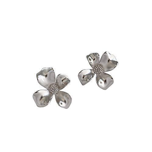 Zaaqio Pendientes de botón de Oro, joyería de Plata 925, Pendientes de Plata de Ley 925 para Mujer, Pendiente de Flores de Moda Simple
