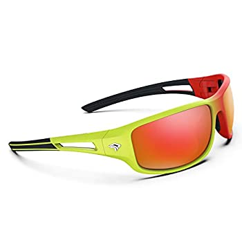Torege Polarized Sports Sunglasses for Men Women Cycling Running Driving Fishing Golf Baseball Glasses TR03  Orange&Fluorescent green frame with Red lens