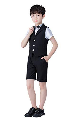 Ensemble de Costume pour Enfants 4 pièces, Costume de Mariage d'été pour garçons, Chemise à Manches Courtes, nœud Papillon, Gilet, Short, Noir, 160