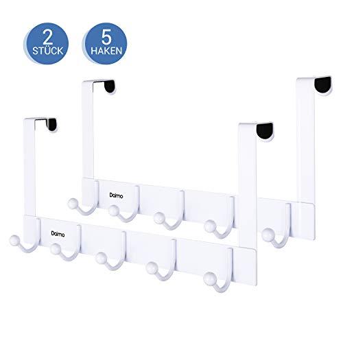 Türhaken, Dalmo DDMJ01FA Türgarderobe mit 5 Haken, Türhakenleiste ohne Bohren, Hakenleiste für Küche, Badezimmer, Wohnzimmer und Flur, 2 Stuck, weiß