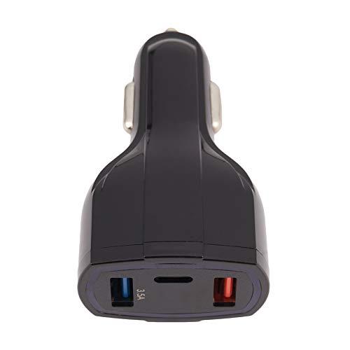 Kaxofang USB Tipo C Cargador De Coche -Carga Rapida USB C 3.0 Cargador De Coche USB (2 Puertos USB, 1 Tipo Puertos C) para iPhone Samsung Galaxy S9 S8 Plus Nota 8 LG G5 G6 V20 HTC (Negro)