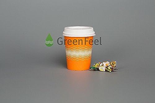 500X 226,8gram 340,2gram gobelets en papier Orange Wave avec couvercle Blanc fête Thé café froid boissons chaudes Take Away fête pique-nique extérieur de voyage 12oz