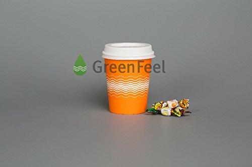 GreenFeel ORANGE PAPER CUPS met witte deksels 500 x 8oz 12 oz partij thee koffie koude warme dranken weg verjaardag partij picknick outdoor reizen catering 12oz ORANJE