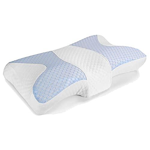 WWZZ Almohada con Forma De Mariposa Popular, Almohada De Cuello De Almohada Sano De Algodón Espacial En La Oficina De Oficina, Accesorios De Viaje De Burbujas De Memoria (Blanco + Azul)