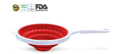 TENTA KITCHEN Large Utility Foldable Silicone Colander, Food Basket Strainer, White Handle, Over 9' Round And Over 17' Length