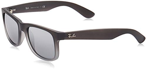 Rayban Justin RB4165 - Gafas de sol Unisex, Gris (Rubber Grey/Grey Transp), 51 mm