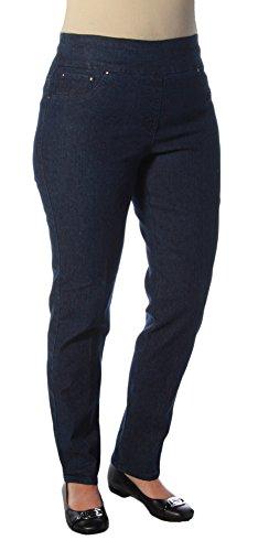 Ruby Rd. Women's Pull-on Extra Stretch Denim Jean, Dark Indigo, 10