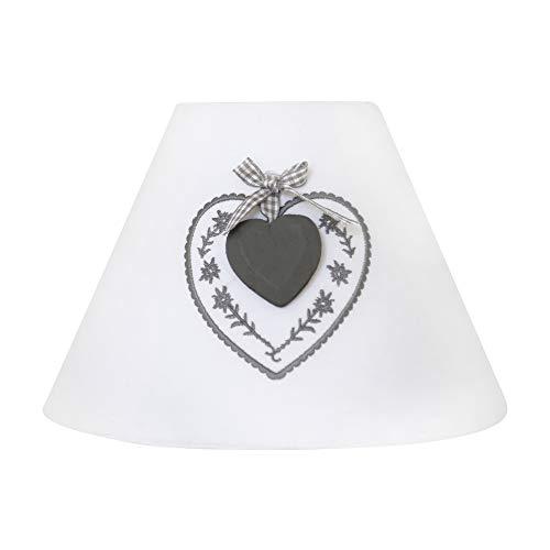 Lampenschirm TILDE weiß mit grauem Herz Holzherz Stickerei Tischlampe Landhaus