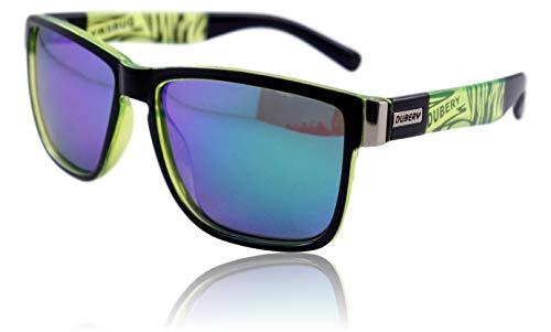 WinLook – Gafas de sol con lentes polarizados certificados UV400 – Cómodas y ligeras – Diseño elegante – Estuche de protección de regalo – Novedad 2019 - DUBERY (Negro y verde/Verde)