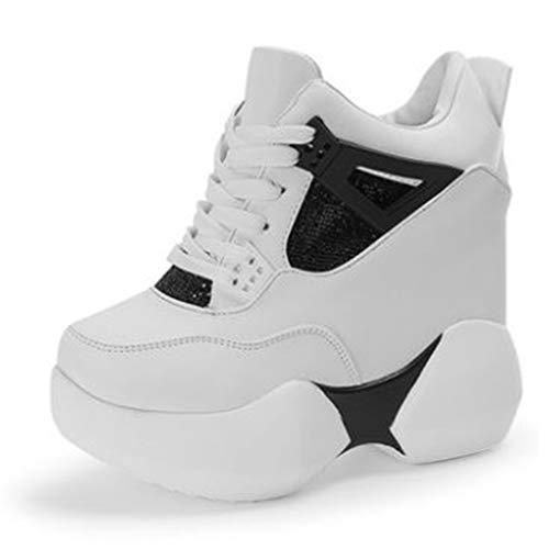 Dames Hoge Platformschoenen Ronde Neus Hoogte Toenemende Modieuze Sneakers Hoge Veterschoen Enkellaarzen Sleehak Sportieve Wandelschoenen