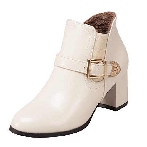 VJGOAL Dameslaarsjes met hak grote maten, high heels laarzen voor dames, retro, eenkleurig, rond hoofd, gesp, booties, cadeau