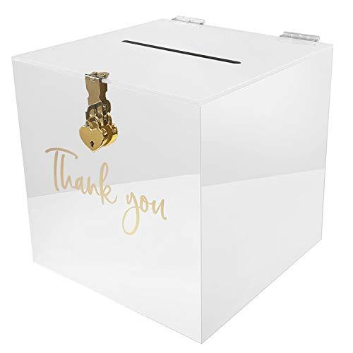 Caja para tarjetas de regalo de acrílico para boda, con candado de corazón, para regalos de invitados, tarjetas de agradecimiento, felicitación, buzón decorativo (blanco)