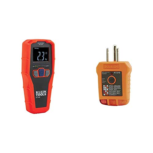 Klein Tools ET140 Pinless Moisture Meter & RT210 Outlet Tester, Receptacle Tester for GFCI/Standard North American AC Electrical Outlets, Detects Common Wiring Problems