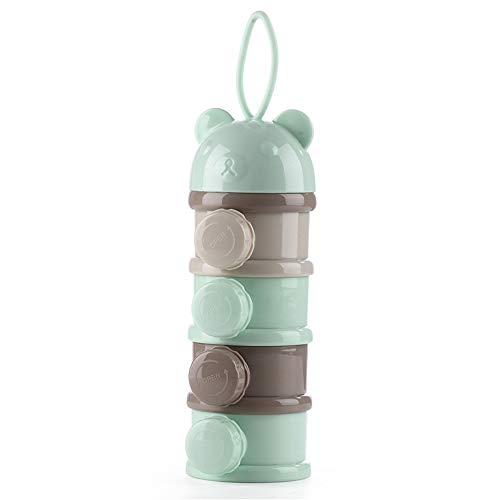 Gogo go Boîte Doseuse à Poudre de Lait Bébé Alimentaire Séparable l'Unité Plein Air 4 Compartiments Empilable Vert