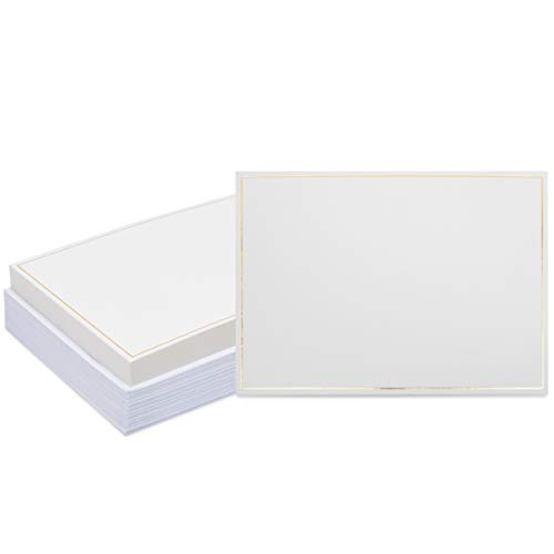 White Cardstock with Gold Foil Border and Envelopes (5 x 7 In, 50 Sheets)