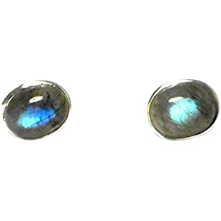 Customer reviews Art Gecko LABRADORITE Oval Sterling Silver Gemstone Ear Studs 925-8 x 10 mm:Qukualian